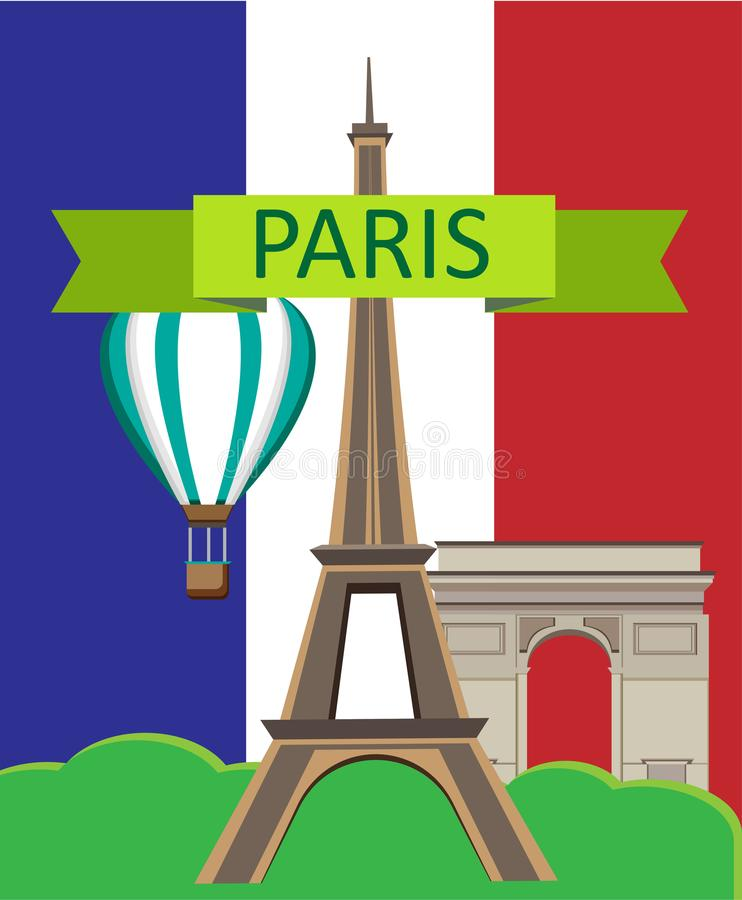 Paris card with flag and Eiffel Tower. royalty free illustration