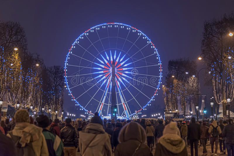 Paris Champs Elysee Ferris wheel stock photography