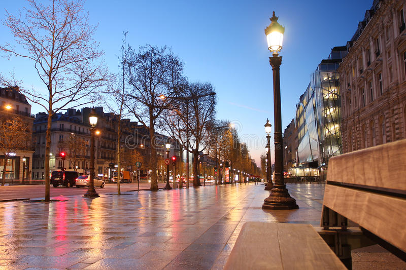 Paris Champs Elysee street in the evening. Famous Paris Champs Elysee street in the evening stock photography