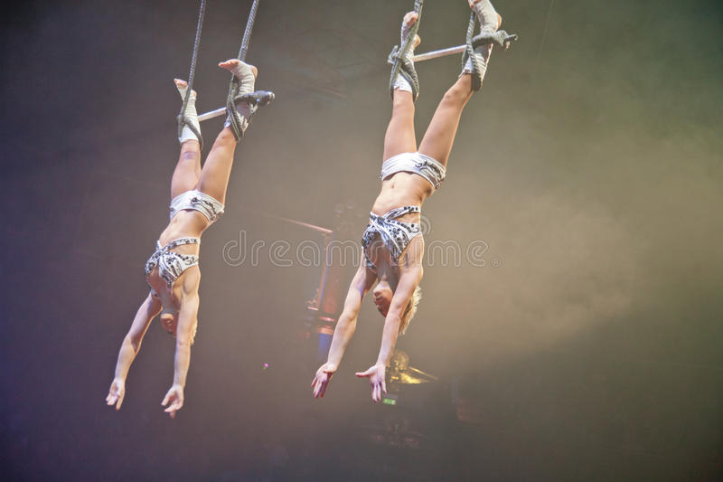 Paris Circus Trapeze Artists. Trapeze act at the Paris Circus stock photos