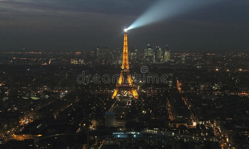 Paris City and Eiffel Tower at night stock photo