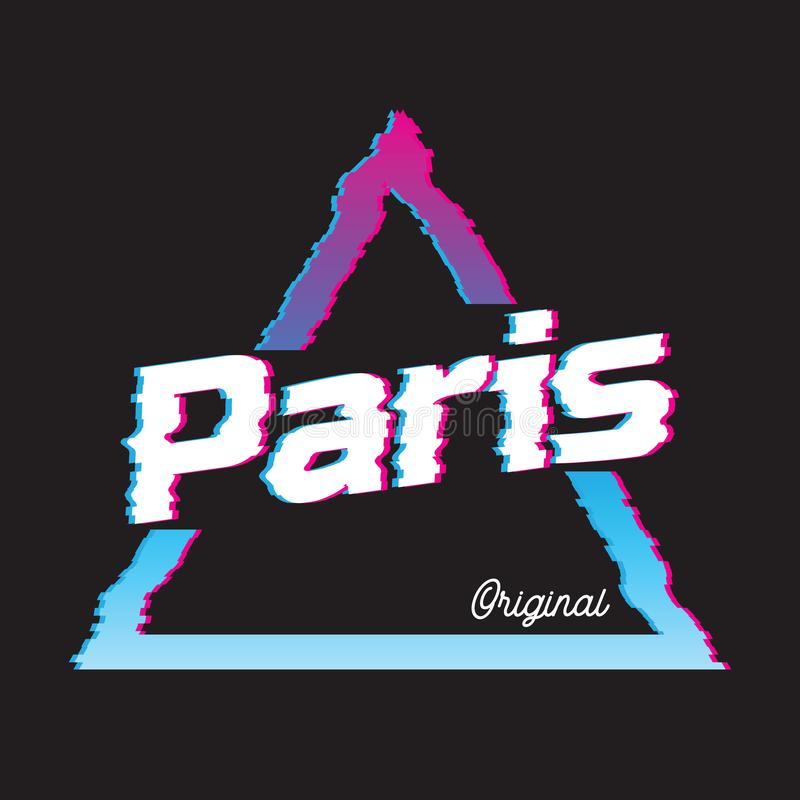 Paris city glitch effect retro illustration. stock illustration