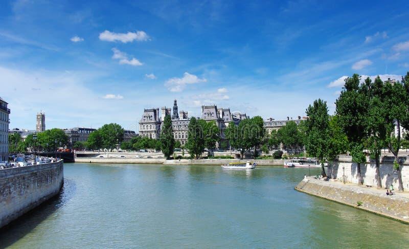 Paris city hall. Seine river quay and Paris city hall stock photography