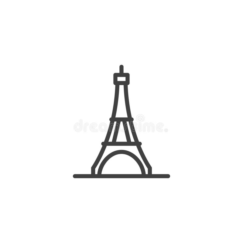 Paris city landmark line icon royalty free illustration