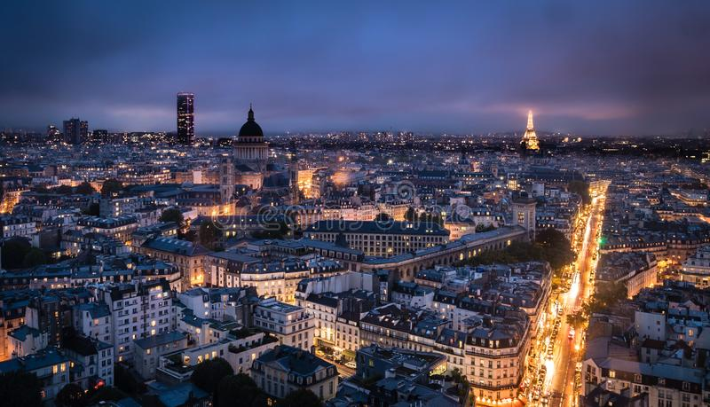 Paris city of lights at night stock photography