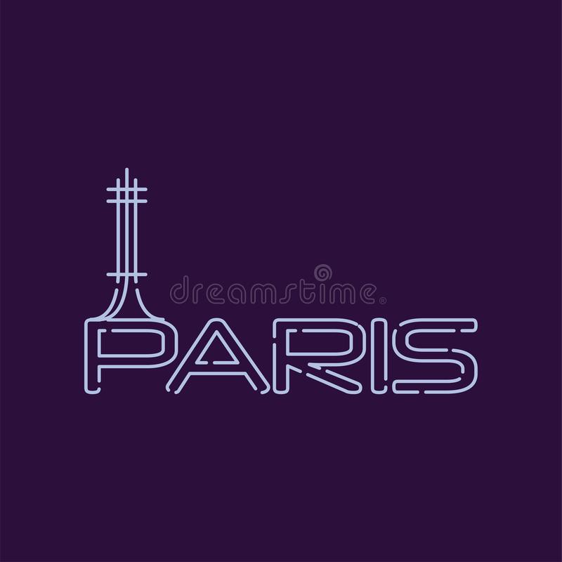 Paris city logo in line style. Abstract silhouette of Eiffel tower. Famous tourist attraction in capital of France vector illustration