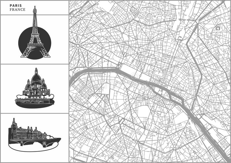 Paris city map with hand-drawn architecture icons stock illustration
