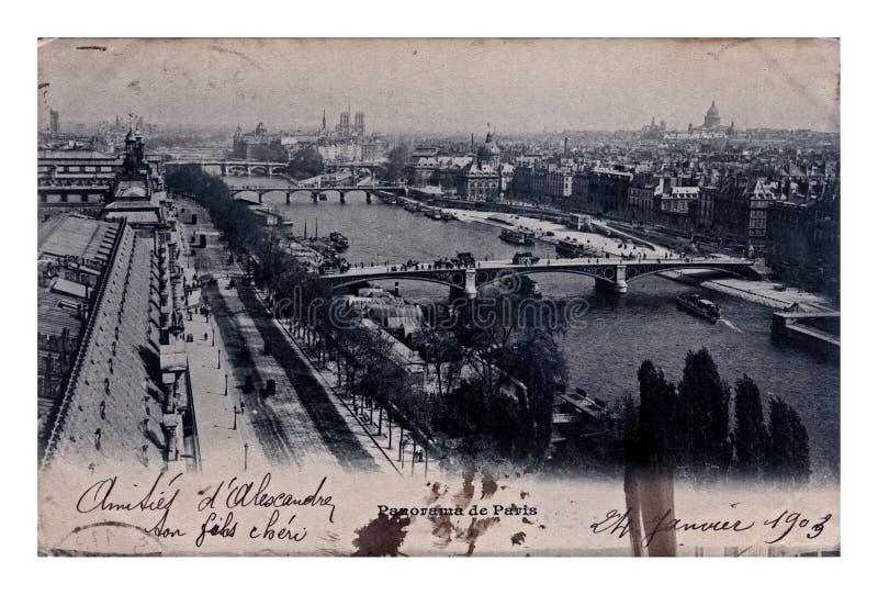 Paris city panorama, vintage postcard, France, circa 1903, stock photo