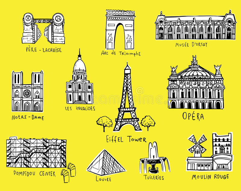 Paris city sights illustrations. In sketch style stock illustration
