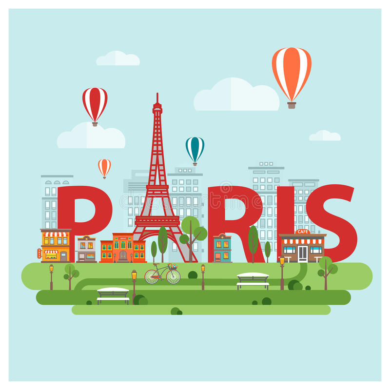 Paris City Sign. Red paris city sign abstract sign with Eiffel tower on paris background vector illustration vector illustration