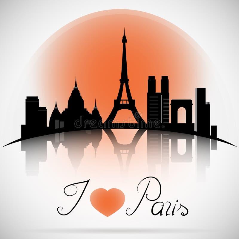 Paris City skyline with reflection. Typographic Design. Paris city skyline design. France stock illustration