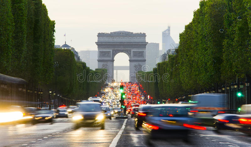 Paris city traffic at evening. Long exposure photo royalty free stock images