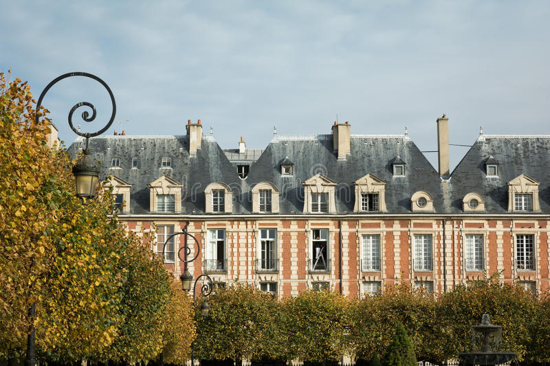 Paris city typical buildings during fall season stock photography