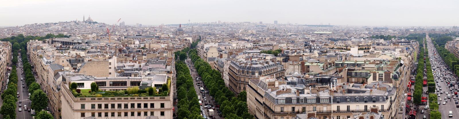 Paris City View From Arc De Triomphe Stock Images