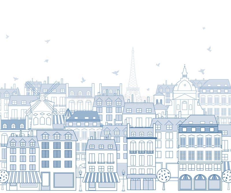 Paris cityscape stock illustrationer