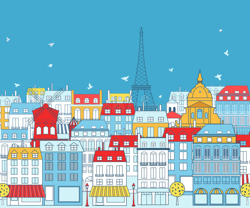 Paris cityscape vektor illustrationer