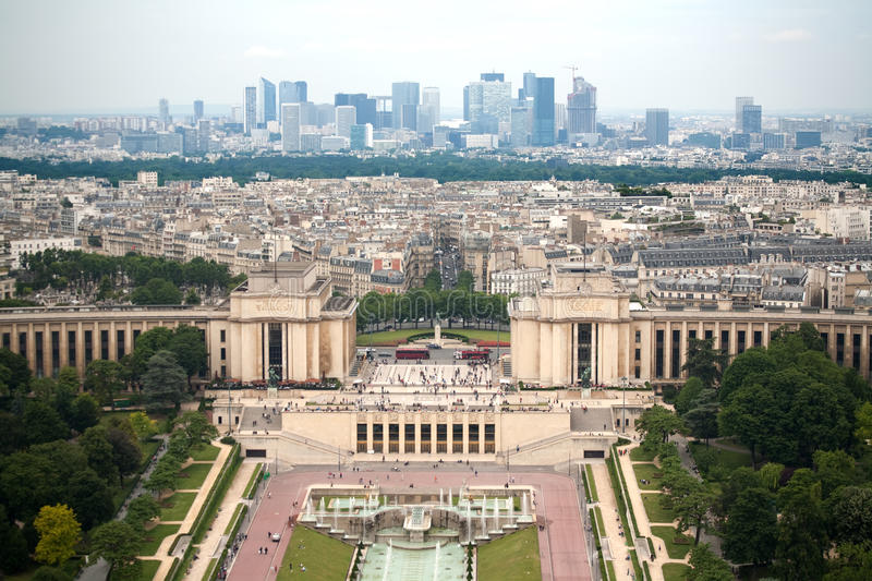 Paris cityscape. Birds eye view from Eiffel tower on Place de Varsovie, Pont d'Iena and Challiot Palace royalty free stock photos