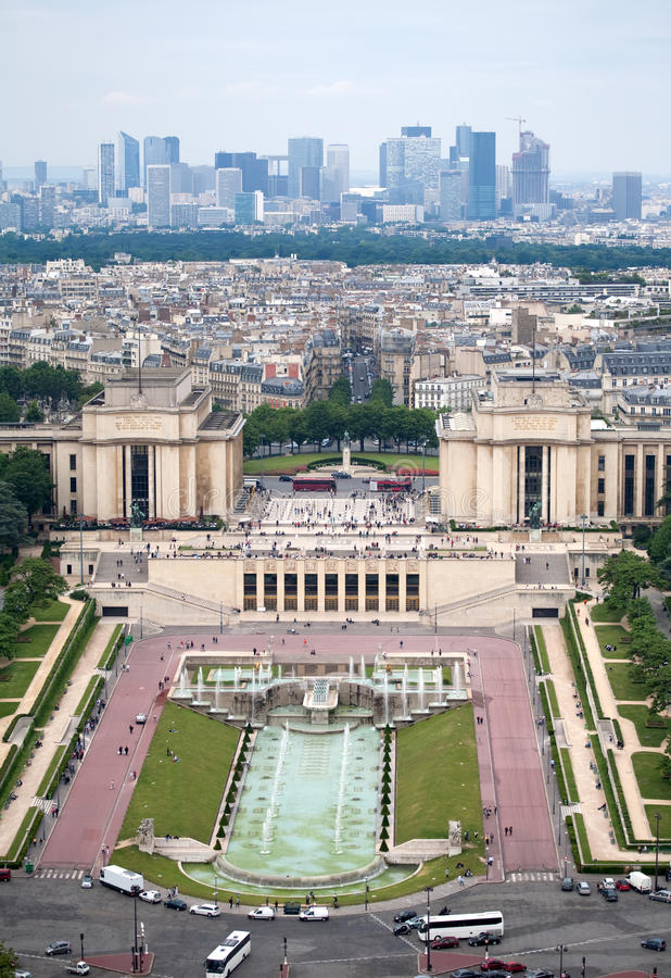 Paris cityscape. Square Trocadero view from Eiffel tower over skyscrapers royalty free stock image