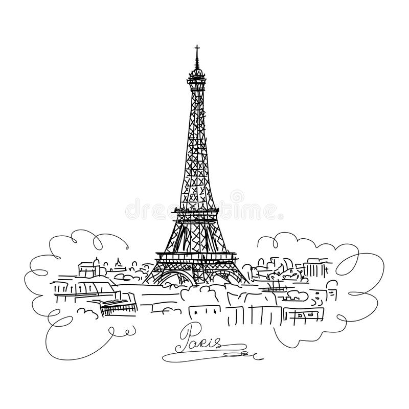 Paris,cityscape with Eifel Tower. Sketch for your design vector illustration