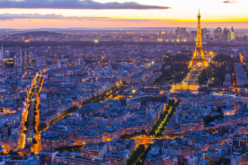 Paris cityscape with Eiffel Tower at night in Paris, France stock photos