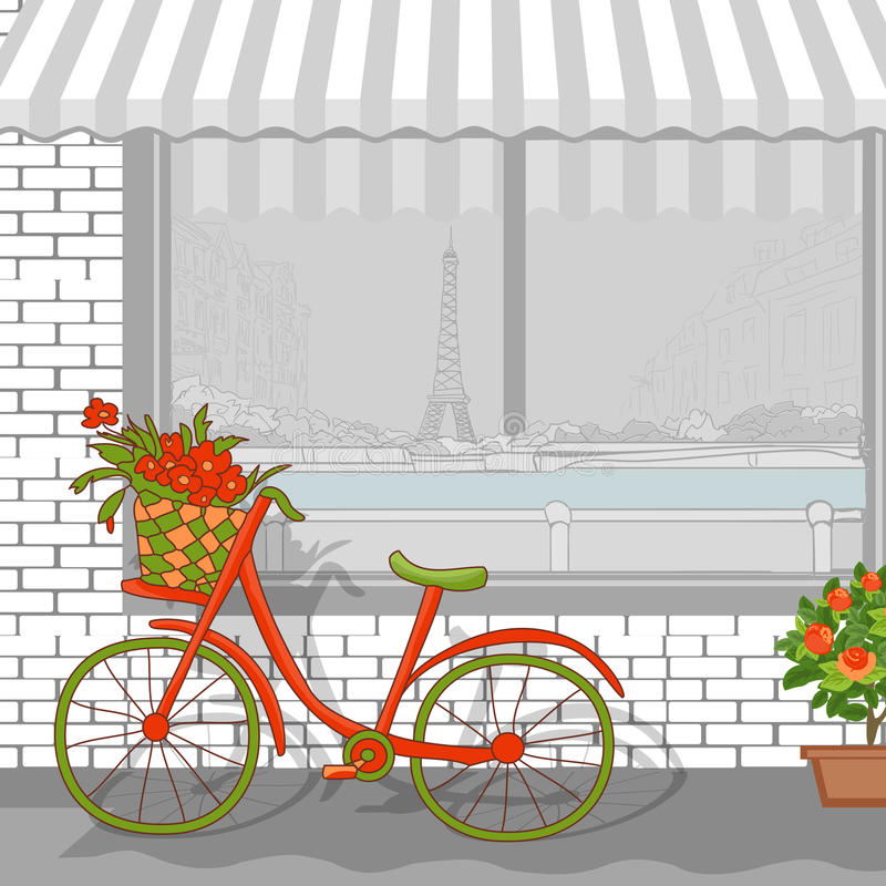 Paris cityscape med bycicle stock illustrationer