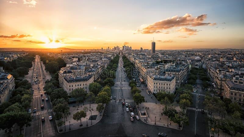 Paris cityscape sunset stock image
