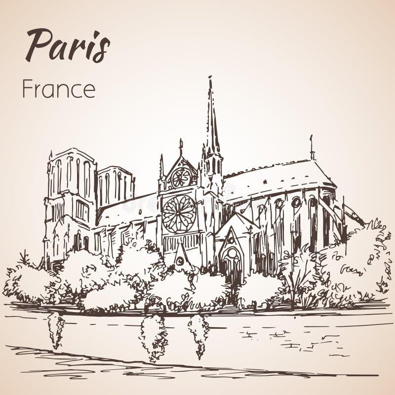 Paris cityspace Domkyrka Notre Dame de Paris royaltyfri illustrationer