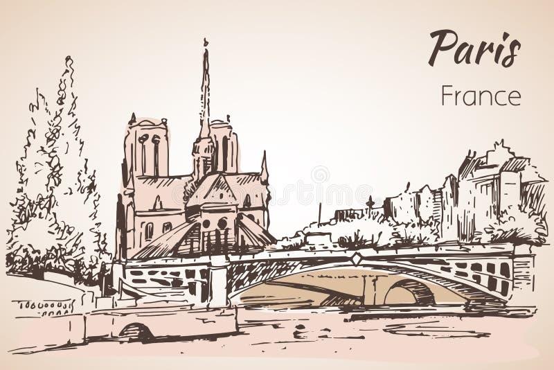 Paris cityspace Domkyrka Notre Dame de Paris skissa stock illustrationer