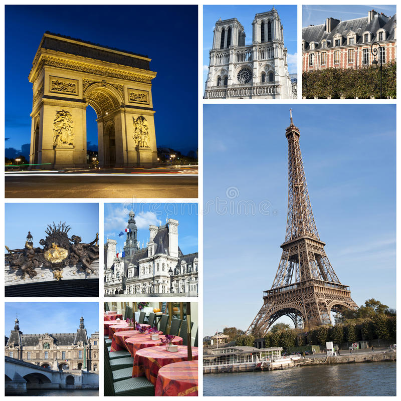 Paris collage. A collage of Paris landmarks