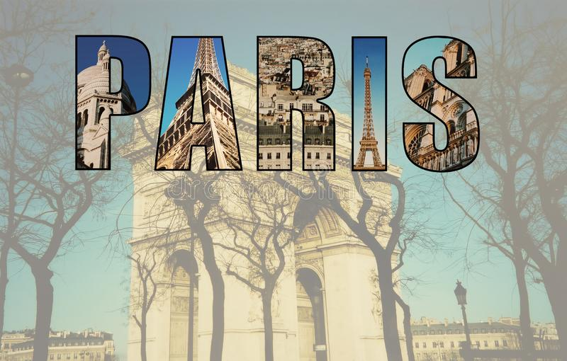 Paris collage av bilder royaltyfria foton