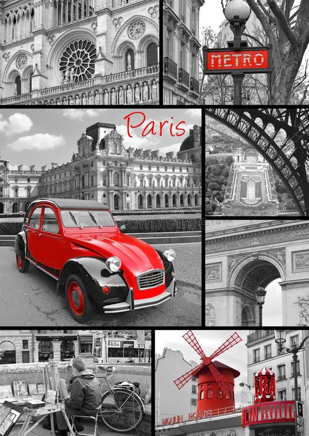 Paris collage av de mest berömda monumenten och gränsmärkena stock illustrationer