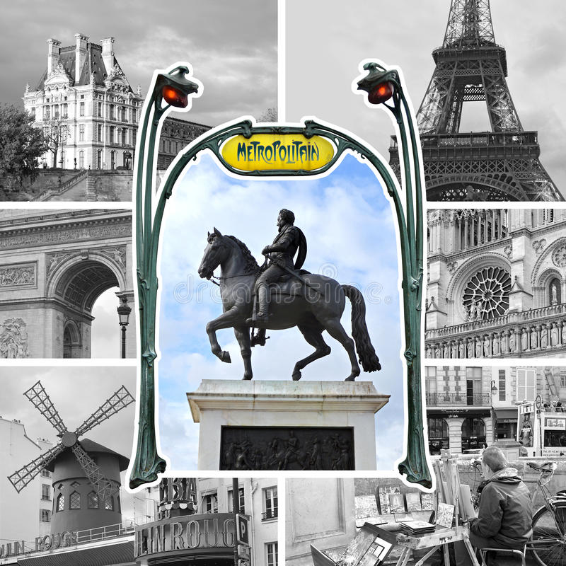 Download Paris Collage In Black And White Editorial Image
