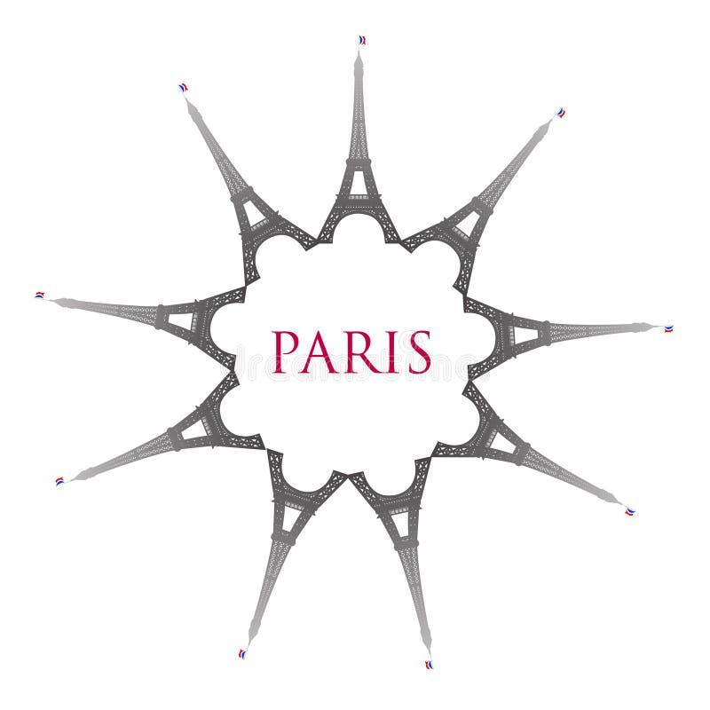 Paris com torres Eiffel ilustração do vetor