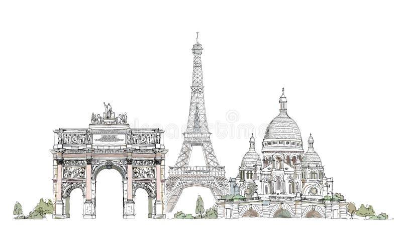 Paris, coração sagrado no arco de Montmartre, de Thriumph e na torre Eiffel, coleção do esboço ilustração royalty free