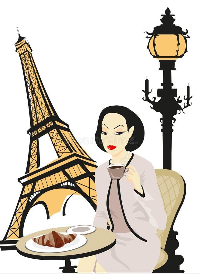 paris cukierniana kobieta ilustracja wektor