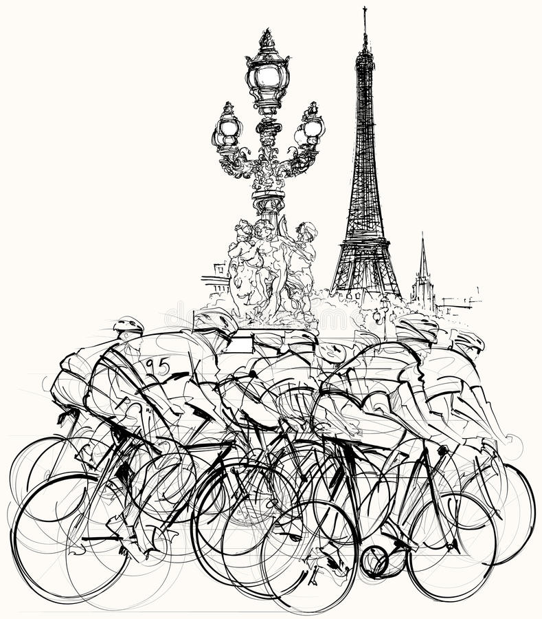Paris - cyclists in competition. Vector illustration of a group of cyclists in competition in Paris royalty free illustration