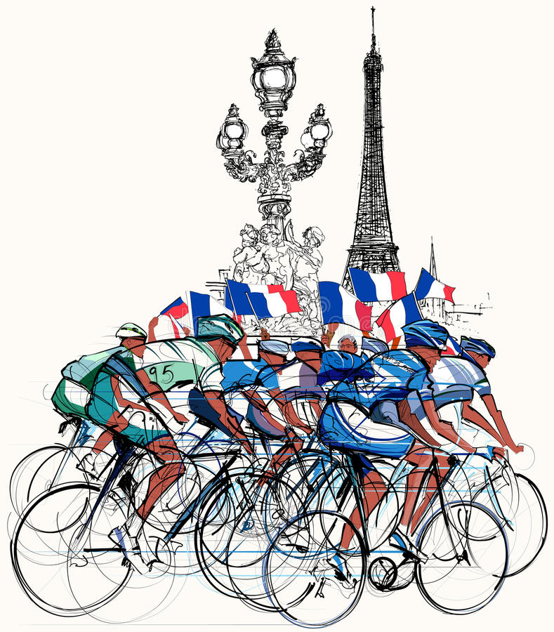 Paris - cyclists in competition. Vector illustration of a group of cyclists in competition in Paris stock illustration