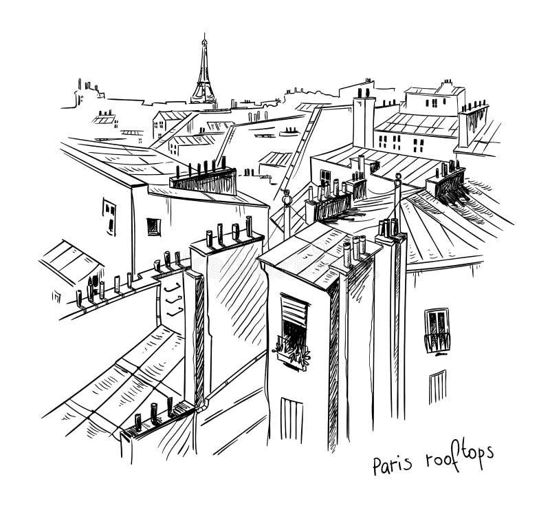 Paris-Dachspitzen Vektorskizze, Federzeichnung vektor abbildung