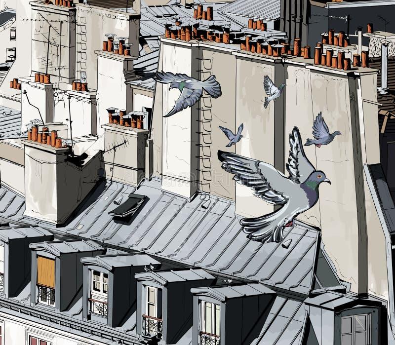 paris dachy royalty ilustracja