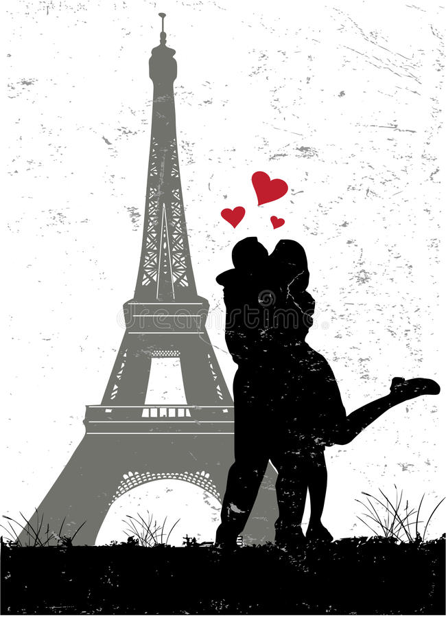 Paris dans l'amour illustration de vecteur
