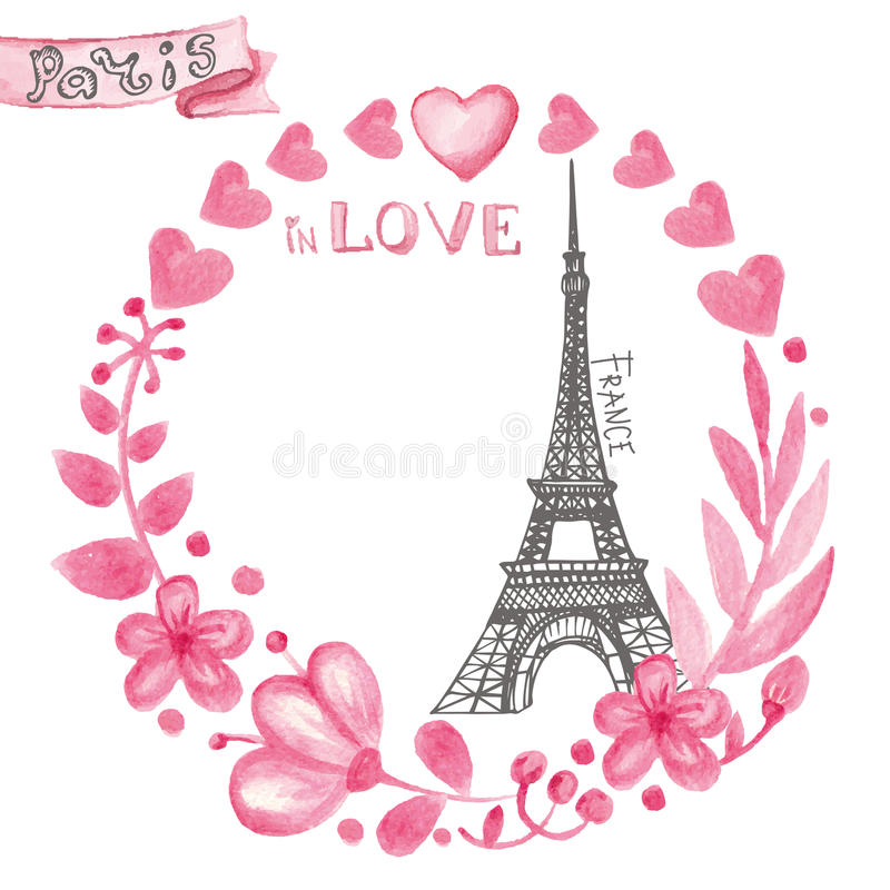Paris dans l'amour Guirlande rose florale d'aquarelle, Tour Eiffel illustration libre de droits