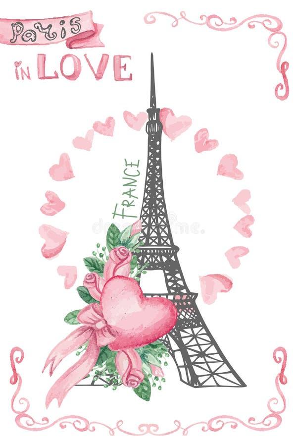 Paris dans l'amour Peu précis tiré par la main, décor d'aquarelle illustration libre de droits