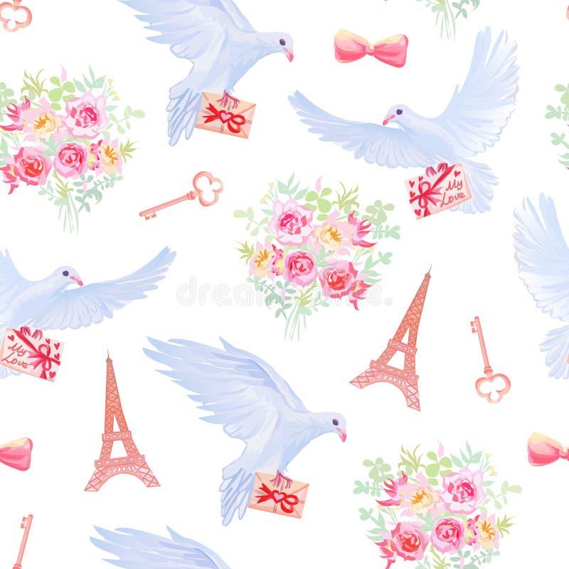 Paris dans le modèle sans couture de vecteur d'imagination d'amour illustration stock