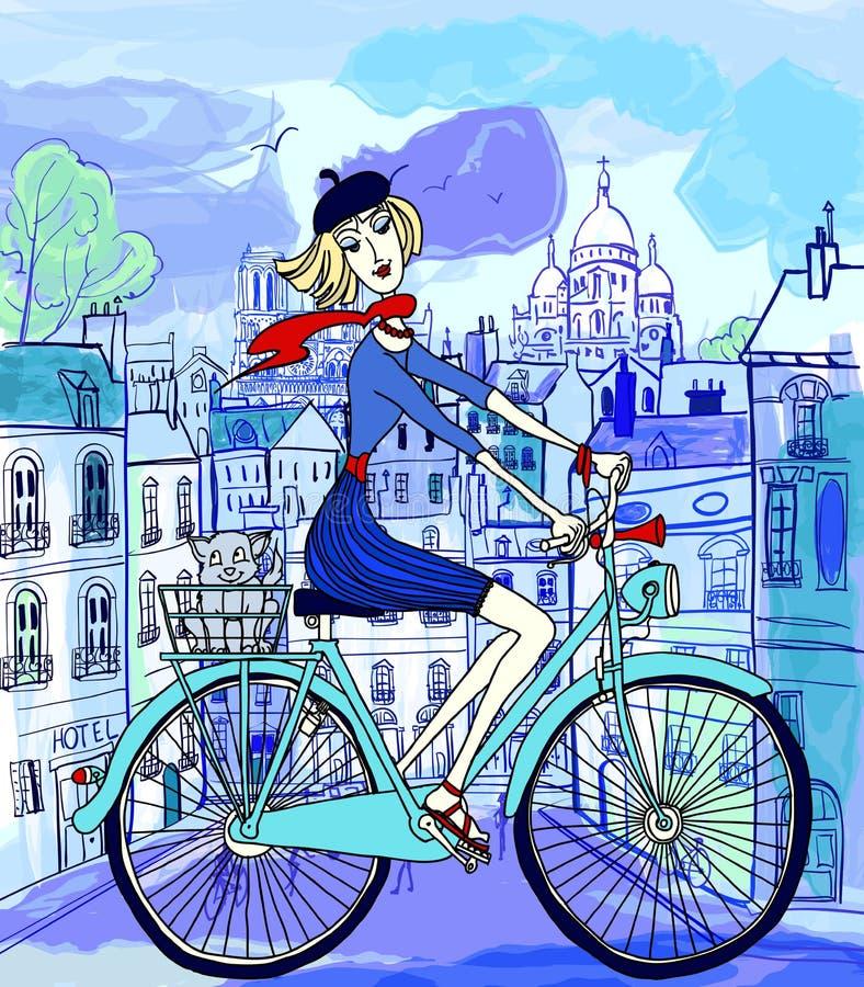 Paris dans le type d'aquarelle illustration de vecteur