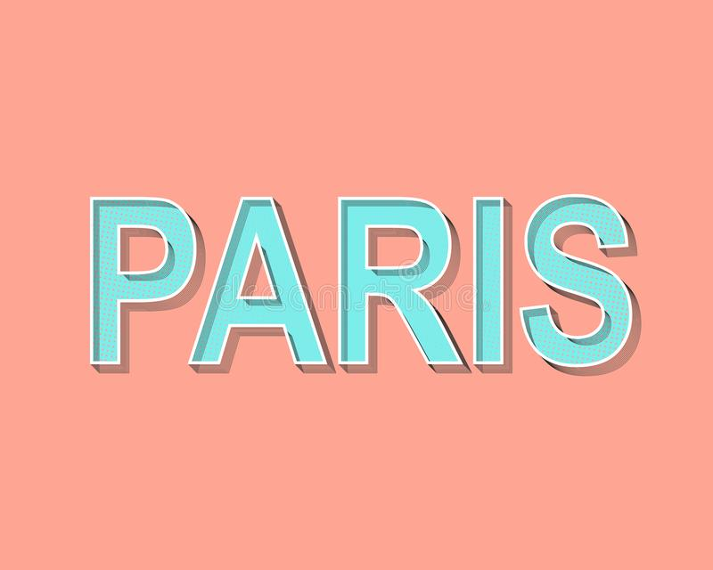 Paris, das Grußkarte beschriftet Moderner Knall Art Typography Schmutzpunkteffekte Modische Lachsfarbe mit hellgrünem lizenzfreie abbildung