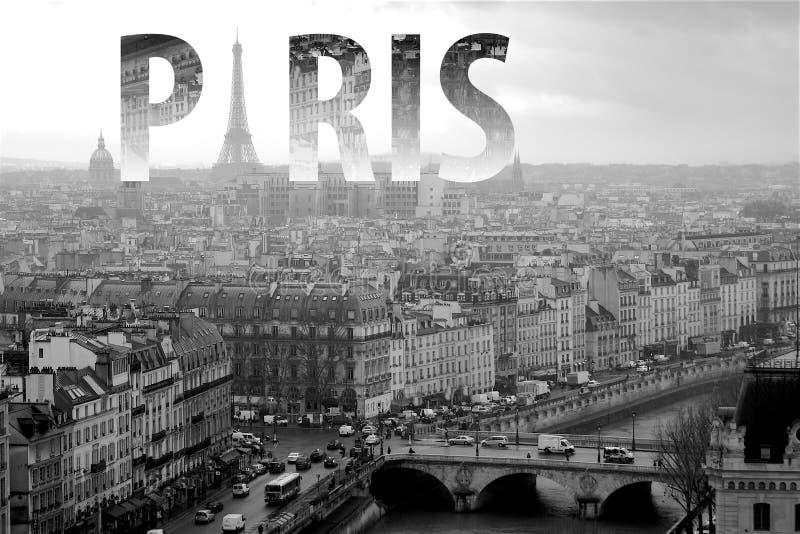 Paris, das in Schwarzweiss in Frankreich beschriftet lizenzfreie stockfotos