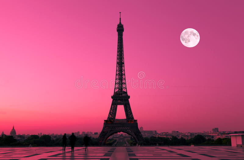 Download Paris at Dawn stock photo. Image of architectural, moon - 17326104