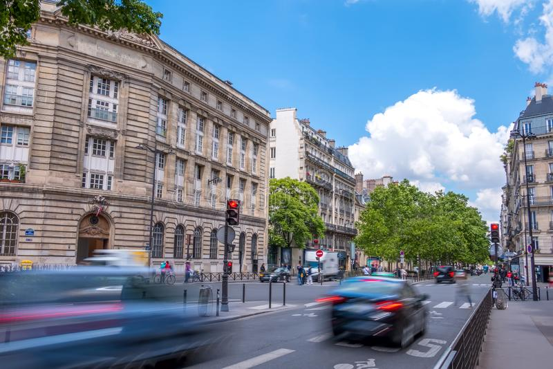 Paris Day Traffic on a Summer stock photography