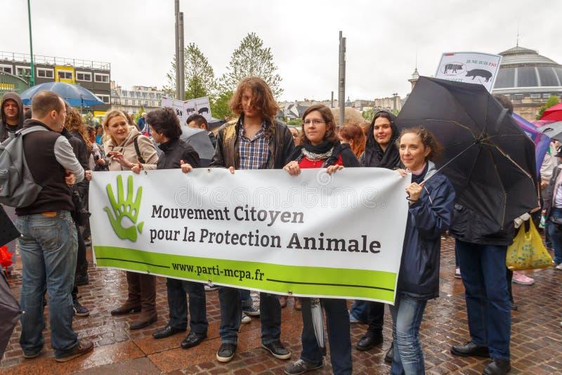 paris Demonstração dos vegetarianos imagem de stock