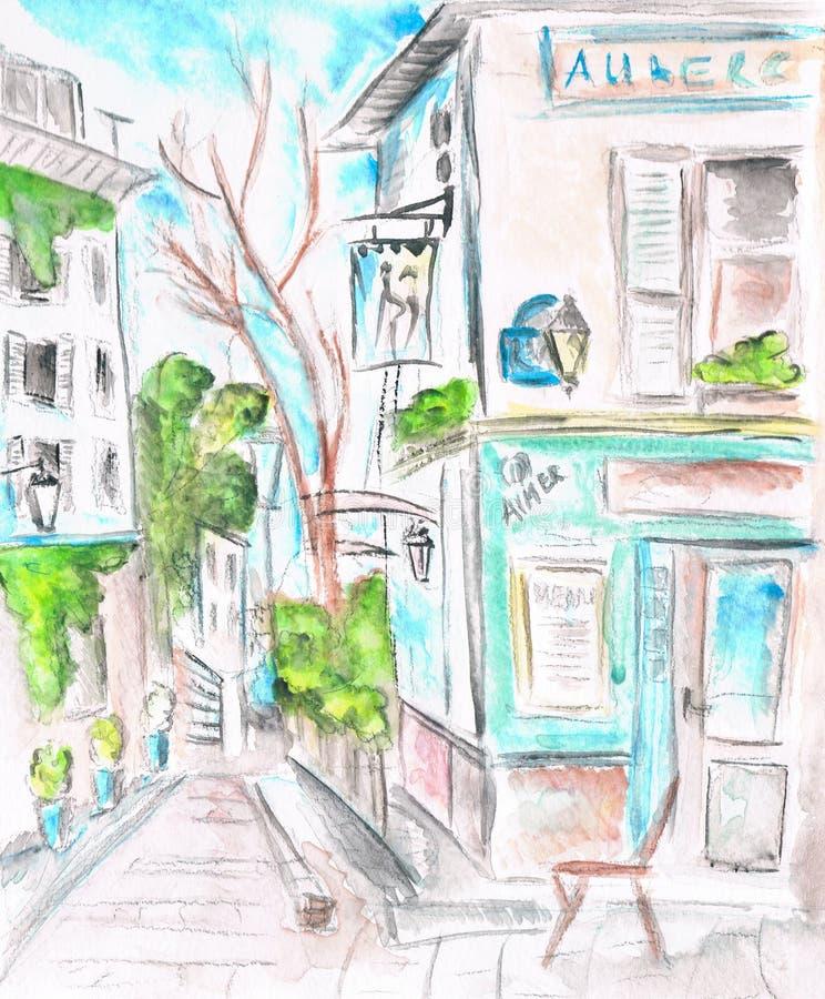 Paris an der Dämmerung Die Fassade des Cafés Abbildung watercolor vektor abbildung